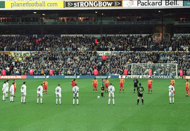 20 Apr 2000: A minutes silence is observed for the two Leeds fans who died in Turkey at the Leeds United v Galatasaray UEFA Cup Semi Final Second Leg match played at Elland Road in Leeds. Mandatory Credit: Michael Steele /Allsport