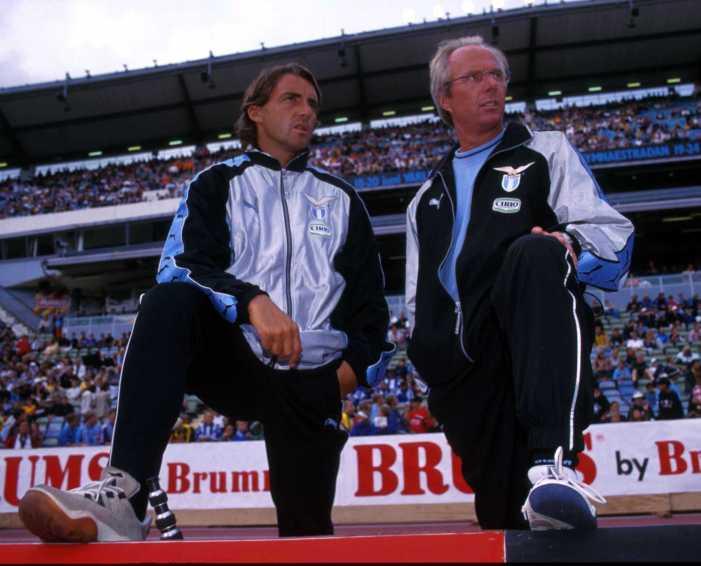 2000: Sven Goran Eriksson of Lazio with Roberto Mancini. Mandatory Credit: Grazia Neri/ALLSPORT