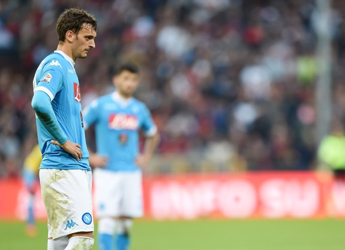 GENOA, ITALY - NOVEMBER 01: Napoli's player Manolo Gabbiadini stands disappointed during the Serie A match between Genoa CFC and SSC Napoli at Stadio Luigi Ferraris on November 1, 2015 in Genoa, Italy. (Photo by Francesco Pecoraro/Getty Images)