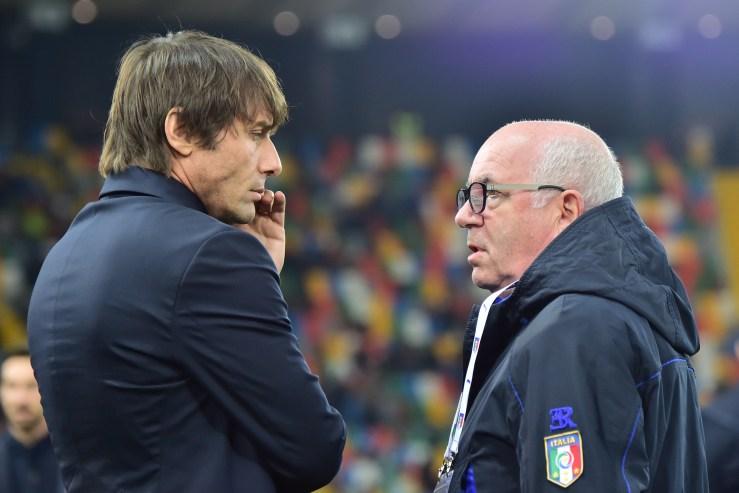 Antonio Conte e Carlo Tavecchio al Dacia Stadium (Giuseppe Cacace/AFP/Getty Images)