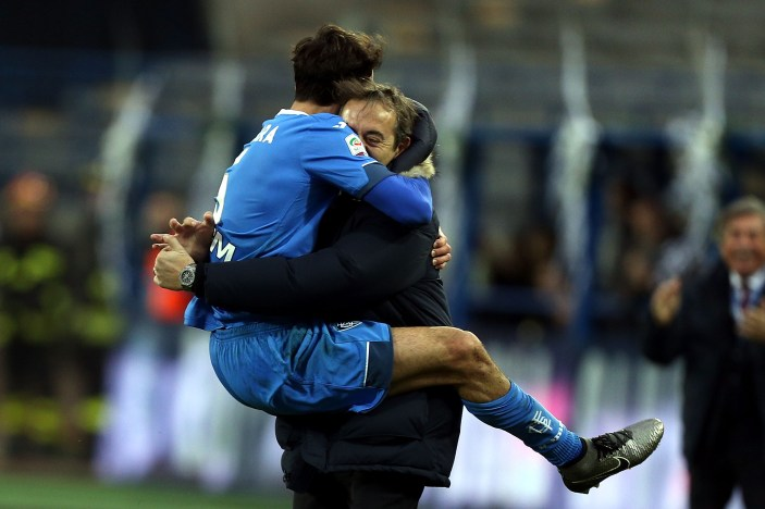 EMPOLI, ITALY - DECEMBER 13: Riccardo Saponara and Marco Giampaolo (R) of Empoli FC celebrate after scoring a goal during the Serie A match betweeen Empoli FC and Carpi FC at Stadio Carlo Castellani on December 13, 2015 in Empoli, Italy. (Photo by Gabriele Maltinti/Getty Images)