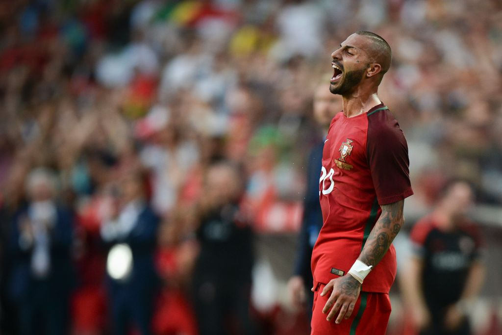 Portugal's forward Ricardo Quaresma celebrates after scoring against Estonia during the friendly football match Portugal vs Estonia at Luz stadium in Lisbon on June 8, 2016, in preparation for the upcoming UEFA Euro 2016 Championship. / AFP / PATRICIA DE MELO MOREIRA (Photo credit should read PATRICIA DE MELO MOREIRA/AFP/Getty Images)