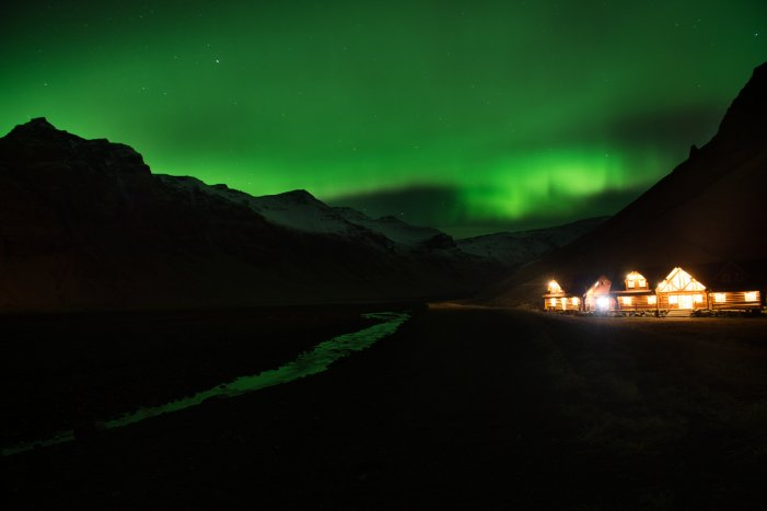 Picture taken on November 8, 2013 shows northern lights or aurora borealis near the village of Vik, in southern Iceland. AFP PHOTO / MARTIN BUREAU (Photo credit should read MARTIN BUREAU/AFP/Getty Images)