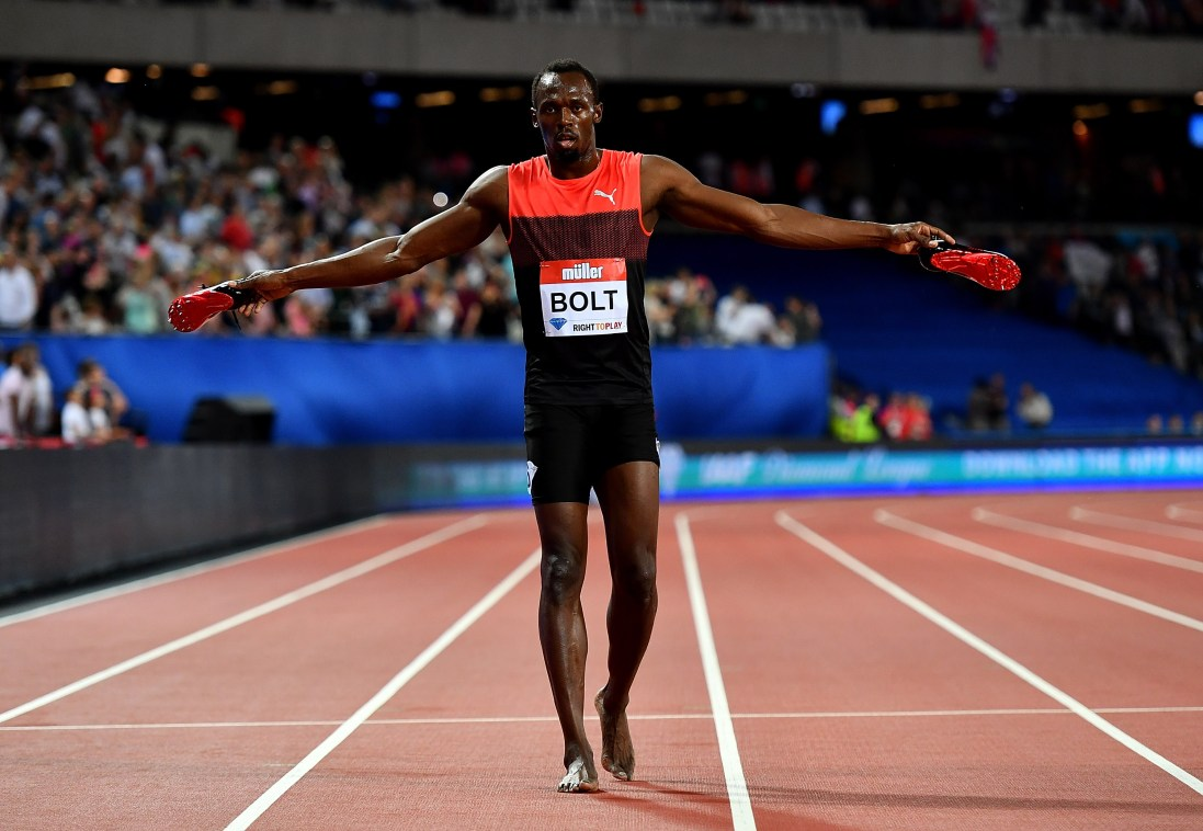 LONDON, ENGLAND - JULY 22: Usain Bolt of Jamaica celebrates after winning the mens 200m during Day One of the Muller Anniversary Games at The Stadium - Queen Elizabeth Olympic Park on July 22, 2016 in London, England. (Photo by Dan Mullan/Getty Images)
