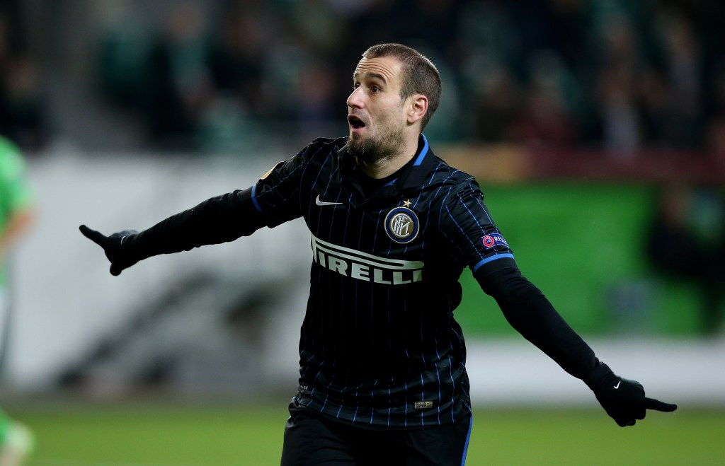Inter Milan's Argentinan forward Rodrigo Palacio celebrates after scoring his team's opening goal during the UEFA Europa League first-leg, Round of 16 football match VfL Wolfsburg vs FC Internazionale Milano in Wolfsburg, northern Germany on March 12, 2015. AFP PHOTO / RONNY HARTMANN (Photo credit should read RONNY HARTMANN/AFP/Getty Images)