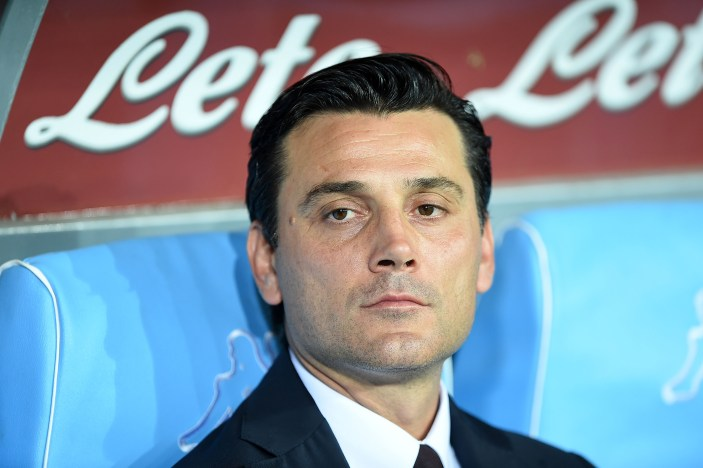 NAPLES, ITALY - AUGUST 27: AC Milan's coach Vincenzo Montella looks during the Serie A match between SSC Napoli and AC Milan at Stadio San Paolo on August 27, 2016 in Naples, Italy. (Photo by Francesco Pecoraro/Getty Images)