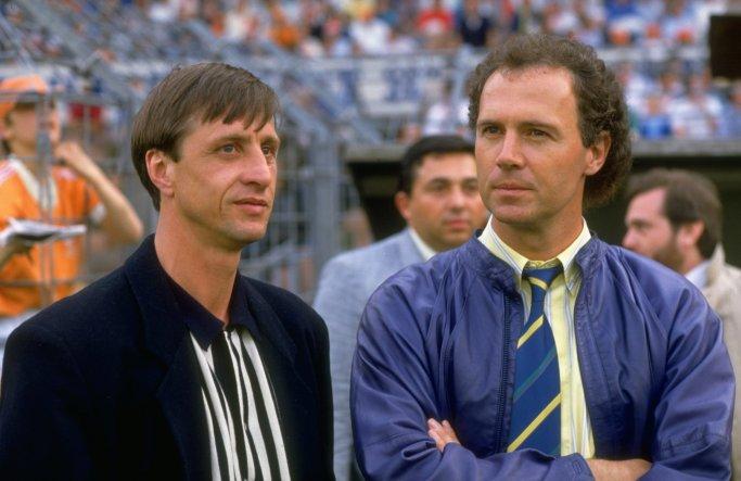 Franz Beckenbauer of West Germany and Johan Cruyff of Holland