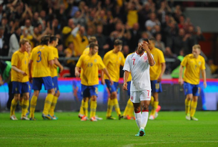 STOCKHOLM, SWEDEN - NOVEMBER 14: Raheem Sterling looks dejected after the first Sweden goal during the international friendly match between Sweden and England at the Friends Arena on November 14, 2012 in Stockholm, Sweden. (Photo by Michael Regan/Getty Images)