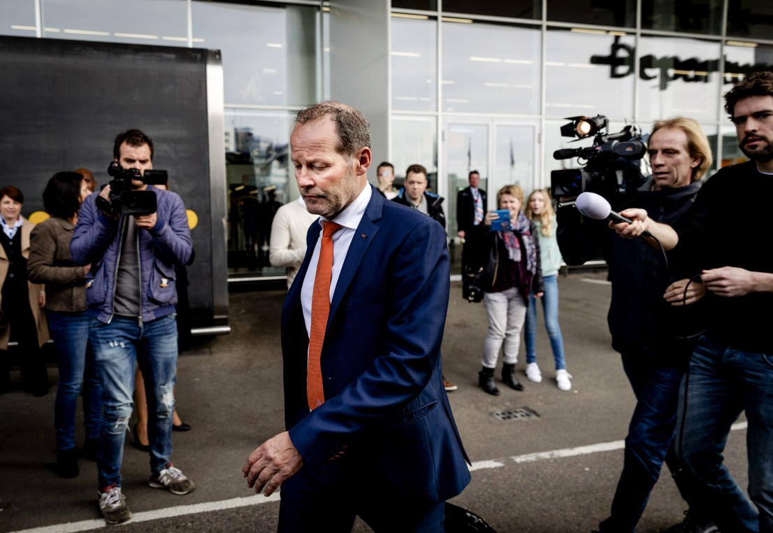 Dutch national soccer team head coach Danny Blind arrives at Schiphol Airport in Amsterdam on March 26, 2017 a day after the FIFA World Cup 2018 qualifying group A football match between Bulgaria and the Netherlands in Sofia. / AFP PHOTO / ANP / Robin van Lonkhuijsen / Netherlands OUT (Photo credit should read ROBIN VAN LONKHUIJSEN/AFP/Getty Images)