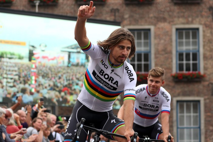 DUESSELDORF, GERMANY - JUNE 29: Peter Sagan of Slovakia and Bora-Hansgrohe waves during the team presentation for the 2017 Le Tour de France on June 29, 2017 in Duesseldorf, Germany. (Photo by Chris Graythen/Getty Images)