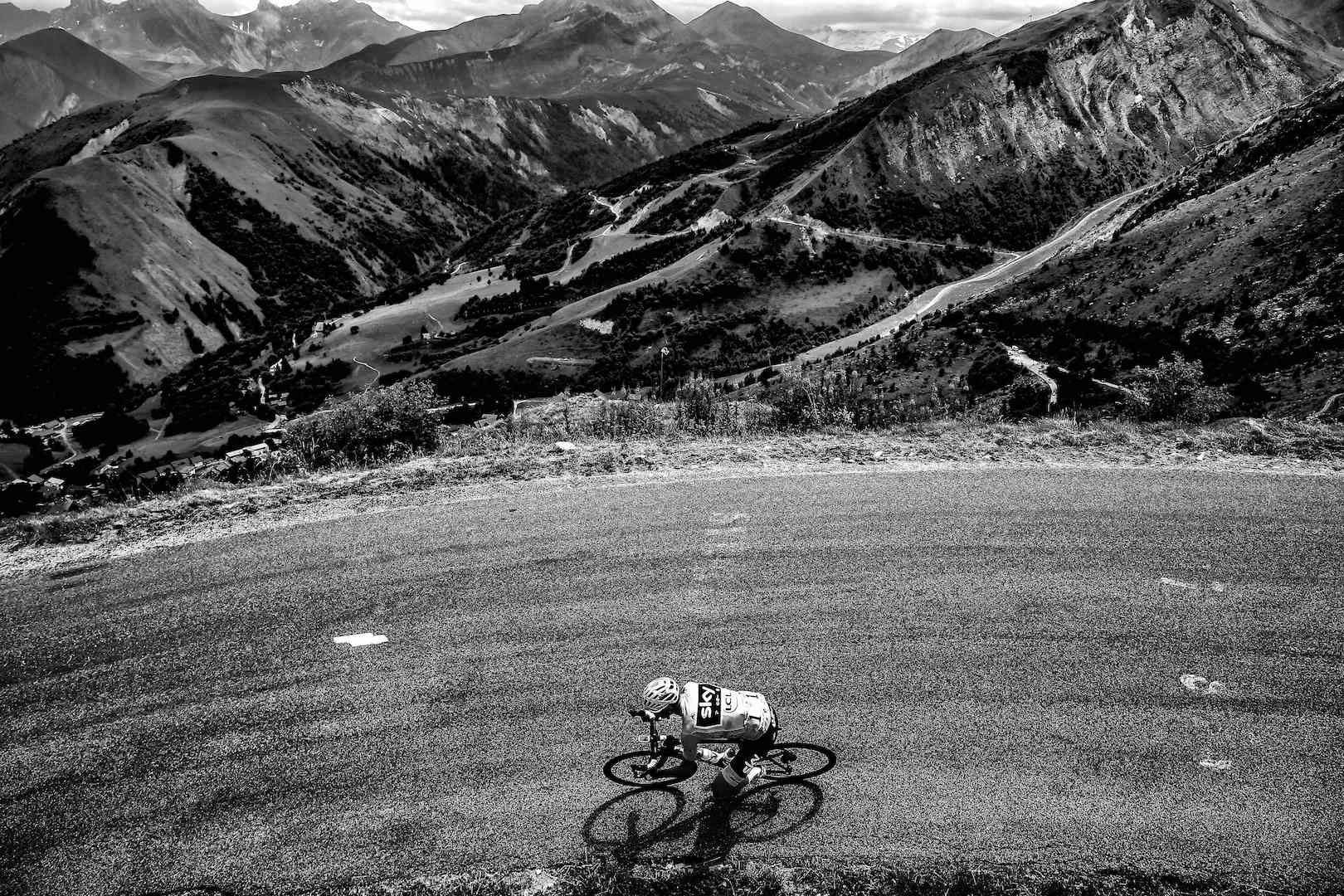 BLACK AND WHITE VERSION Great Britain's Christopher Froome, wearing the overall leader's yellow jersey, rides during the 183 km seventeenth stage of the 104th edition of the Tour de France cycling race on July 19, 2017 between Le La Mure and Serre-Chevalier, French Alps. / AFP PHOTO / LIONEL BONAVENTURE (Photo credit should read LIONEL BONAVENTURE/AFP/Getty Images)