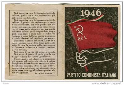 Una tessera del PCI del 1946