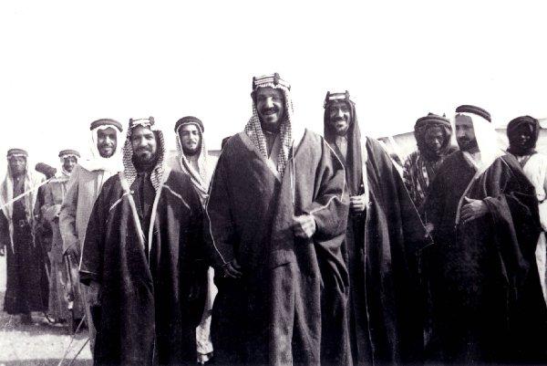 Abdul Aziz (Ibn Saud) with Sheikh Ahmad of Kuwait - 1936