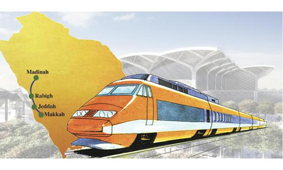 Once completed, the metrorail network being constructed in Jeddah would be connected to the Haramain Railway (shown in this illustration), making travel to Makkah, Madinah, Rabigh and Yanbu easier.