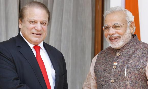 Indian Premier Narendra Modi with his Pakistani counterpart Nawaz Sharif prior to a meeting in New Delhi. (EPA)