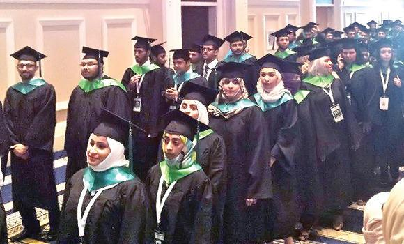 A photo posted on Facebook shows Saudi students during the graduation ceremony in Washington DC.