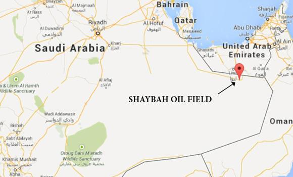 Google map showing the location of Shaybah Oil Field in the Eastern Province.