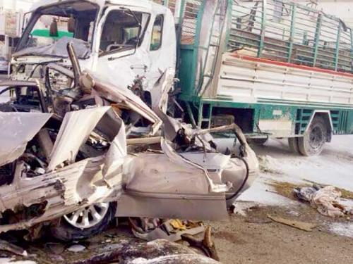 The scene of the fatal crash that claimed lives of three Sudanese expatriates on Baha-Baljurshi Road.