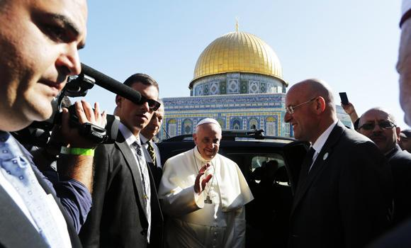 Pope Francis is seen in front of the Dome of the Rock during his visit on the compound known to Muslims as Noble Sanctuary and to Jews as Temple Mount in Jerusalem's Old City on Monday. (Reuters/Nir Elias)