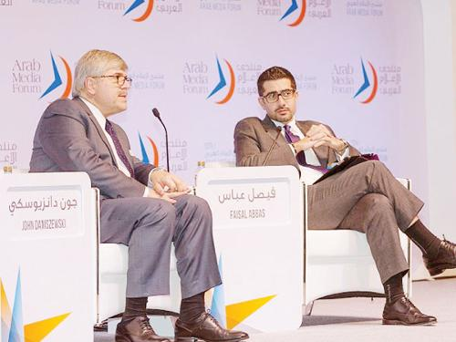 "Vice-President and Senior Managing Editor for International News at the Associated Press John Danisjewski and Al Arabiya News editor-in-Chief Faisal Abbas during a discussion on ""The future of news media in the region"" in Dubai. – Courtesy photo"