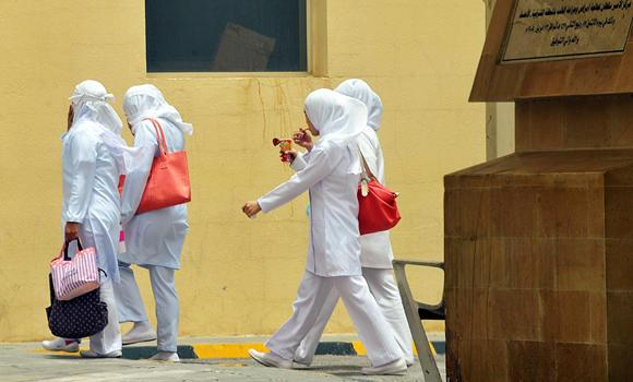 Foreign nurses are seen at the premises of the King Fahd Hospital in the city of Hofuf in the Eastern Province in this June 16, 2013, file photo. It was in Hofuf where the first outbreak of MERS infections sparked a global alarm. Since then, at least 163 deaths from MERS have been reported in Saudi Arabia. (AFP)