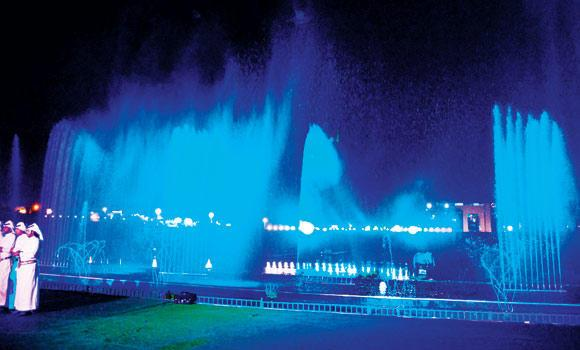 A scenic view of the light and sound program at the the Abha Park.