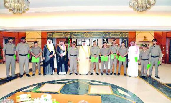 Eastern Province Gov. Prince Saud bin Naif with Qatif police officers in Dammam.