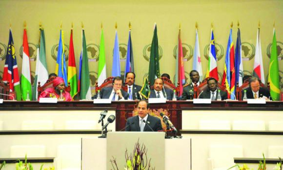 Egypt President El-Sissi speaking at the 23rd AU summit in Malabo.