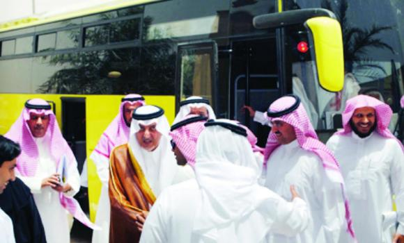 Minister of Education Prince Khaled Al-Faisal after taking a tour on a new public school bus.