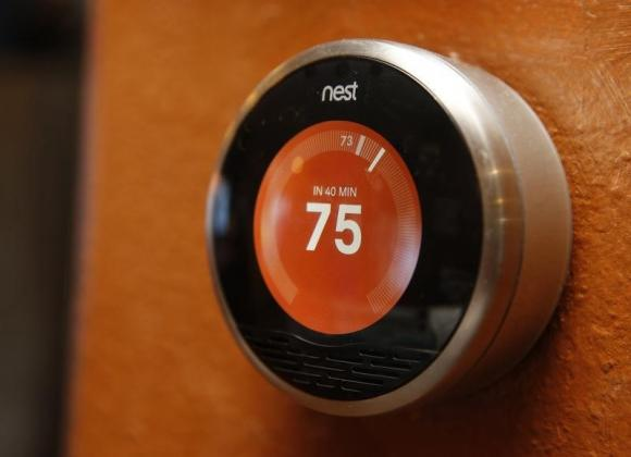 A Nest thermostat is installed in a home in Provo, Utah.
