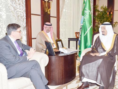 Vice Custodian of the Two Holy Mosques Prince Salman Bin Abdulaziz holding talks with US Treasury Secretary Jacob Lew in Jeddah, Tuesday. — SPA