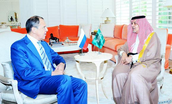 A picture provided by the Saudi Press Agency (SPA) shows Saudi Foreign Minister Prince Saud al-Faisal (R) meeting with Russian Foreign Minister Sergei Lavrov (L) in the Saudi Red Sea port of Jeddah on Saturday.