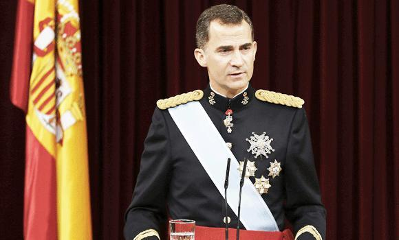 Spain's King Felipe VI speaks at the Congress of Deputies, Spain's lower House in Madrid on Thursday for a swearing in ceremony of Spain's new King before both houses of parliament.