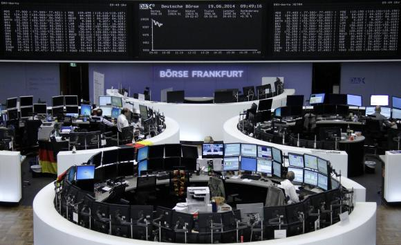 The curve of the German share price index DAX board, is pictured at the Frankfurt stock exchange.