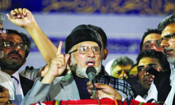 Tahirul Qadri addresses his supporters in Lahore.