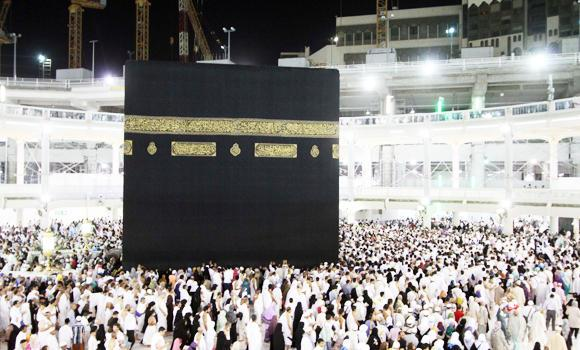 Worshipers walk around the Kaaba in the Grand Mosque in Makkah.