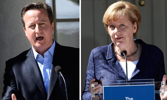 British Prime Minister David Cameron and German Chancellor Angela Merkel.