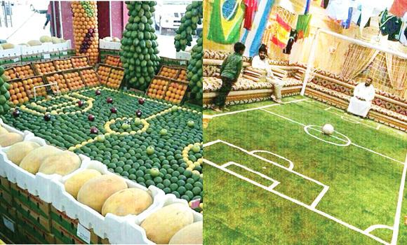 In this combo image, a local fruit and vegetable vendor with his replica 'fruitball' stadium (left) and a local football lover turns his living room into a replica of a World Cup stadium.