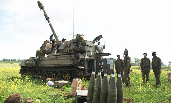 An Israeli Army Artillery battery unit is deployed on alert near the border with Syria in Golan Heights.