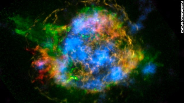 The Spitzer Space Telescope revealed images of a supernova explosion in which a dead star sucked off the remaining cosmic energy of an aging star.
