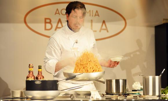 Luca Torricelli, chef of Swiss restaurant l'Argentino in Lugano, competes during the Pasta World Championship, on June 13, 2014 in Parma.