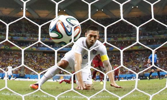 Clint Dempsey of the US watches after knocking the ball into the net against Portugal during their 2014 World Cup Group G soccer match at the Amazonia arena in Manaus on Sunday.