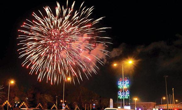 Dazzling fireworks lit up Riyadh's skyline over seven locations as residents expectantly welcomed Eid holidays. (SPA)