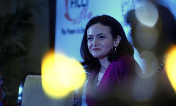 Facebook chief operating officer Sheryl Sandberg addresses an interactive session organized by the women's wing of the Federation of Indian Chambers of Commerce and Industry in New Delhi.