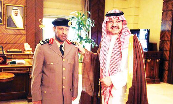 A file photo of Jeddah Gov. Prince Mishaal bin Majed with Brig. Ahmed Al-Shahrani, director of prisons in Jeddah.