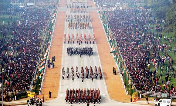 This photograph released by Indian Government Press Information Bureau, shows Indian soldiers march through Rajpath, the ceremonial boulevard during the Republic Day parade in New Delhi, India.