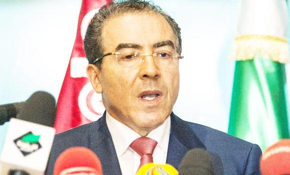 Tunisian Minister of Foreign Affairs Mongi Hamdi holds a press conference on Monday, in the Tunisian city of Hammamet, after a meeting as part of the ministerial conference of Libya's Neighbour Countries.