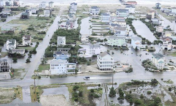 Flooding from Hurricane Arthur is pictured on the Outer Banks of North Carolina in this July 4, 2014 aerial handout photo provided by the U.S. Coast Guard.