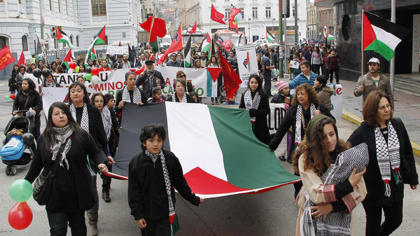 Members of the Palestine community in Chile hold up a Palestine flag during a rally for peace in Gaza, in Valparaiso, northwest of Santiago.