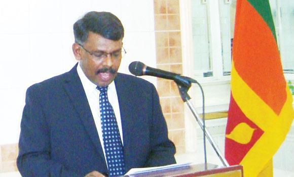 Sri Lankan Ambassador Vadivel Krishnamoorthy is speaking at the iftar party held at the Sri Lankan Embassy premises.